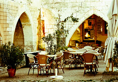 Cafe France (GeorgiaCF) Tags: travel france french restaurant golden evening cafe outdoor traditional arches stonewalls southoffrance streetcafe aquitaine medievalvillage pavementcafe bastidetown lpbright