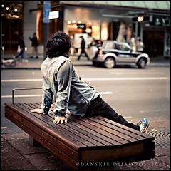 Candid shot #010 (Danskie.Dijamco.Photography) Tags: street holiday bench relax japanese back cool sitting view watching relaxing streetphotography peaceful calm relief seeing leisure quite tranquil stree calmdown unwind peaceofmind stressfree loosingup relaxingstage