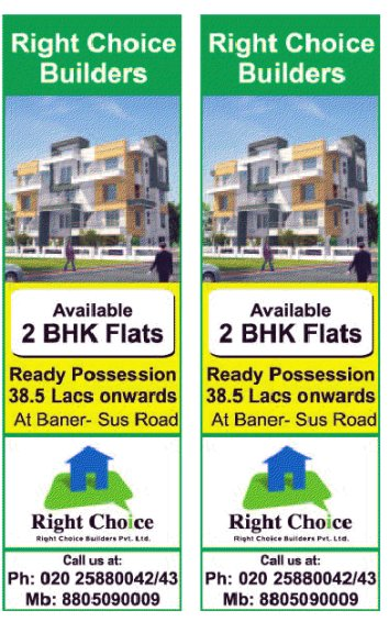 Ready Possession 2 BHK Flats, Rs. 38.5 Lakhs Onward, at Baner Sus Road, Pune