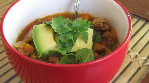 Grass Fed beef chili with cilantro and avocado