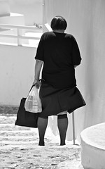 Old woman in Santorini (martin.mutch) Tags: woman black lady glamour santorini stocking meditaranean