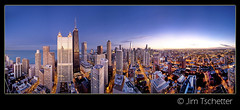 245 degrees of Chicago... (IC360) Tags: city chicago hancockbuilding skyline twilight cityscape pano panoramic lakemichigan elysian bluehour lakefront bloomingdalesbuilding ic360images jimtschetter