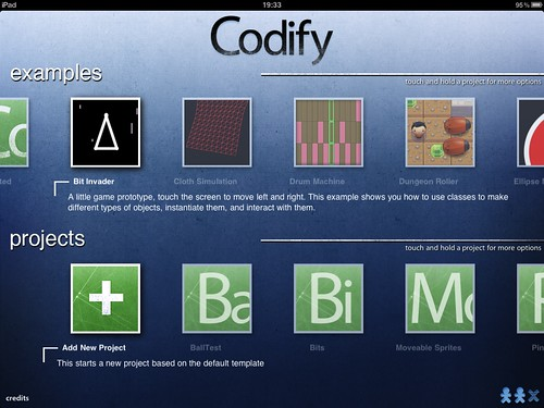 Codify's project selection screen