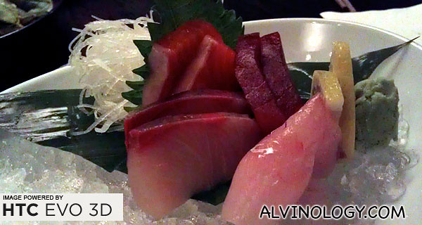 Sashimi appetiser - tuna, salmon, yellowtail and swordfish