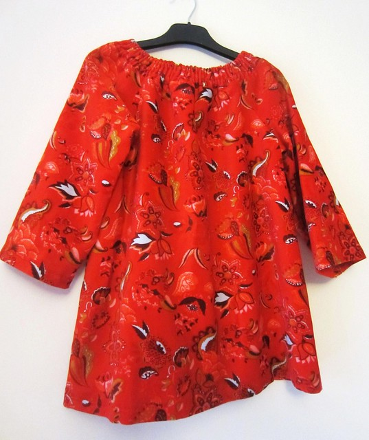 red euro flowers tunic
