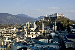 A Postcard From Salzburg (Serge Freeman) Tags: city mountains salzburg castle architecture buildings austria cityscape rooftops cathedral aerial