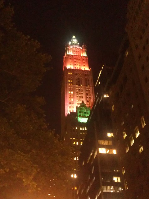 Getting closer to the Woolworth Building in green & red