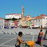 The pastel colors of the medieval town Piran