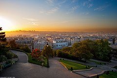 Butte-Montmartre - Paris (romvi) Tags: park city trees light paris france church stairs sunrise buildings nikon europe citysca