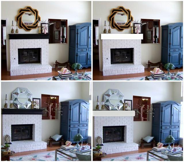 mantel/mirror collage