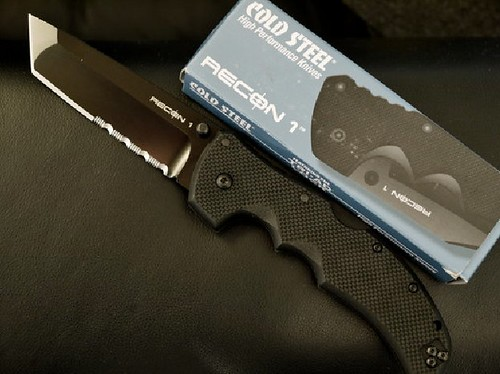 "Cold Steel Recon 1 Tanto 4"" Combo Blade, G10 Handles"