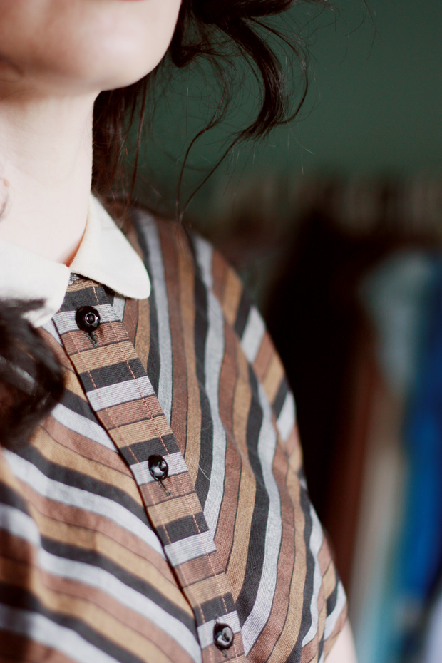 vintage stripe jacket peter pan collar