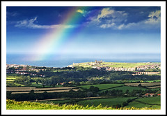 Rainbow Over Whitby (Fazer44) Tags: sea england abbey canon rainbow yorkshire scenic viaduct whitby eos7d