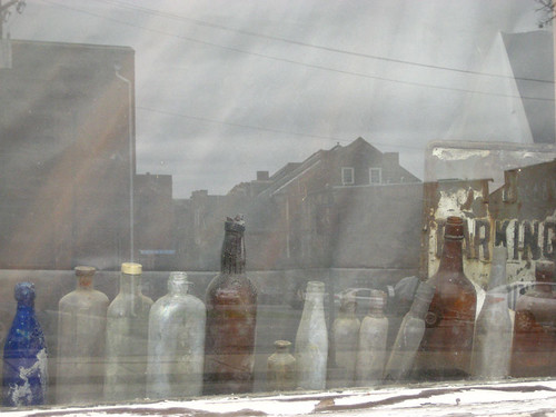 bottles and reflection