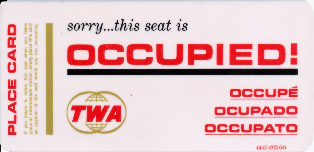 sorry...this seat is Occupied! - TWA Place Card