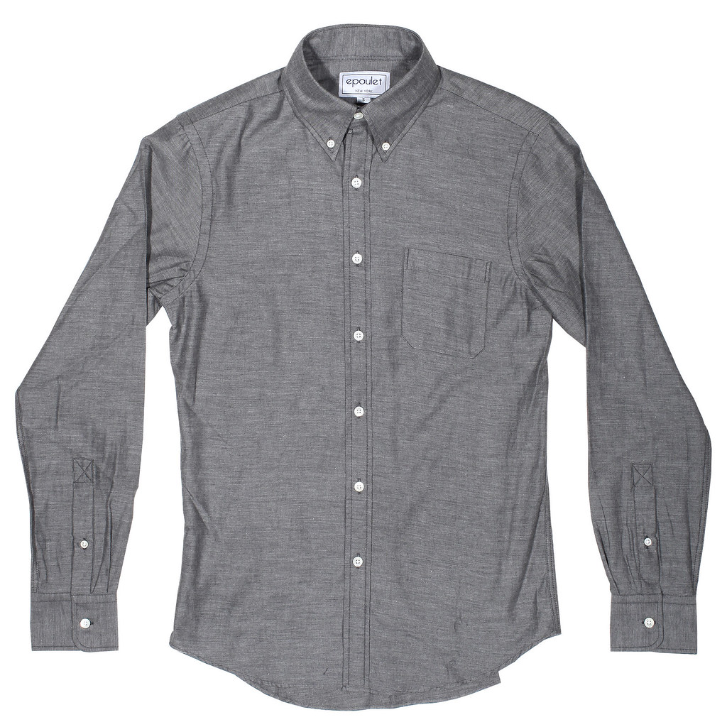 Epaulet Grey Flannel Buttondown