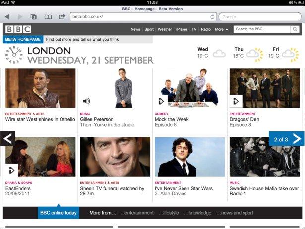 BBC homepage on iPad