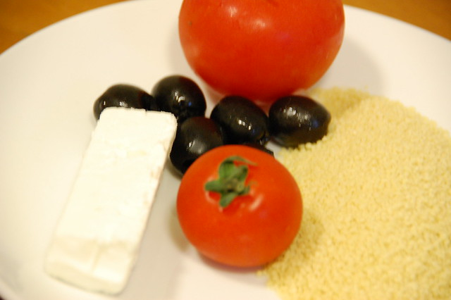 Olive, feta cheese, tomatoes, couscous