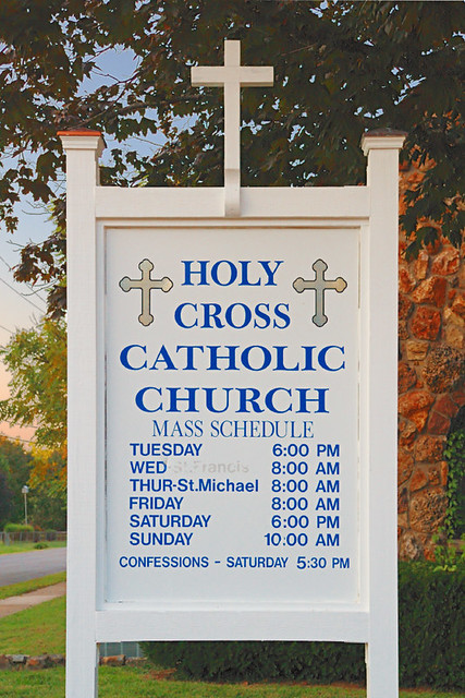 Holy Cross Roman Catholic Church, in Cuba, Missouri, USA - sign