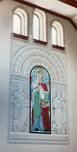 Holy Cross Roman Catholic Church, in Cuba, Missouri, USA - painting in sanctuary