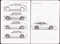 IDC Midsize Sedan Page 1 (Flaf) Tags: auto b 3 cars car pencil vintage munich mnchen mercedes design drawing sketchbook mercedesbenz bmw series florian manta opel 190 3er e21 w201 afflerbach idrawcars