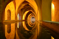Simmetrie Reali (Nicolay*) Tags: light espaa abstract reflection pool yellow architecture modern lady reflections real golden amazing sevilla mujer spain women flickr king maria awesome gothic royal arches seville andalucia symmetry reflect baths huge andalusia ark riflessi mara monarchy sville spagna simmetria andalousie bains baos riflesso gotico nopostproduction mudejar padilla alczar doa mudjar corrado siviglia simetra gtico nicol bagni simmetrie simetras alczares symmetries doamaradepadilla