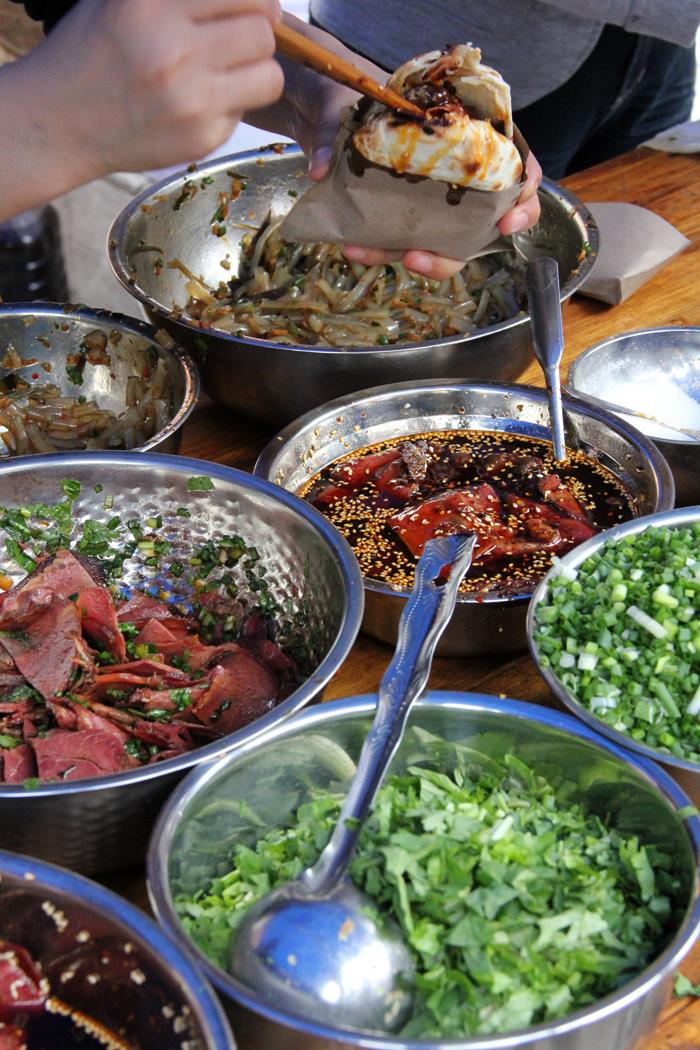 Chinese Hamburger Ingredients, Yangshuo, China