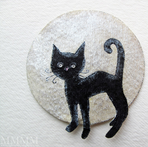 Claire Keay cat with circle behind Scraped away shimmer paint from cat B4 scored fur texture