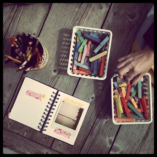 sketchbooks on the dock
