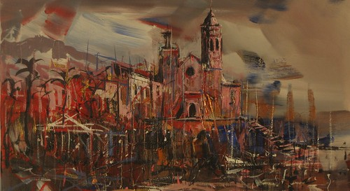 Fireworks in Sitges  - Painting - Original