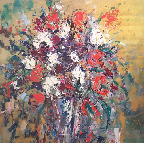 Red and White - Flowers - Impressionistic Art