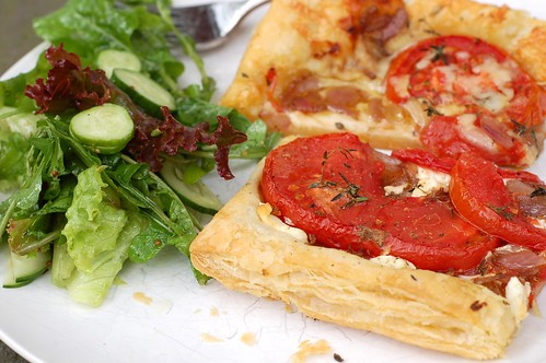 Tomato tarts and green salad by Eve Fox, Garden of Eating blog, copyright 2011