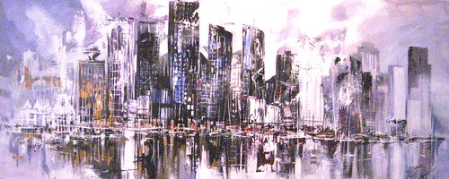 Vancouver skyline - Painting - Abstract
