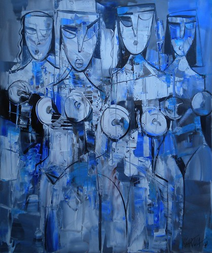 Blue Ladies - Painting - Cubism