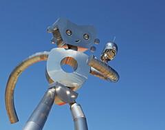 The Traveling Man (WarEagle8608) Tags: city urban sculpture streetart art statue metal robot dallas downtown texas tx deep publicart dart deepellum ellum dallastx dallastexas travelingman eoskissx4 canoneos550d eos550d canoneosrebelt2i rebelt2i canoneoskissx4 eosrebelt2i robotstatue deepellumgateway