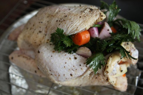 Feather Ridge Chicken Stuffed with Celeriac, Carrots, and Shallots