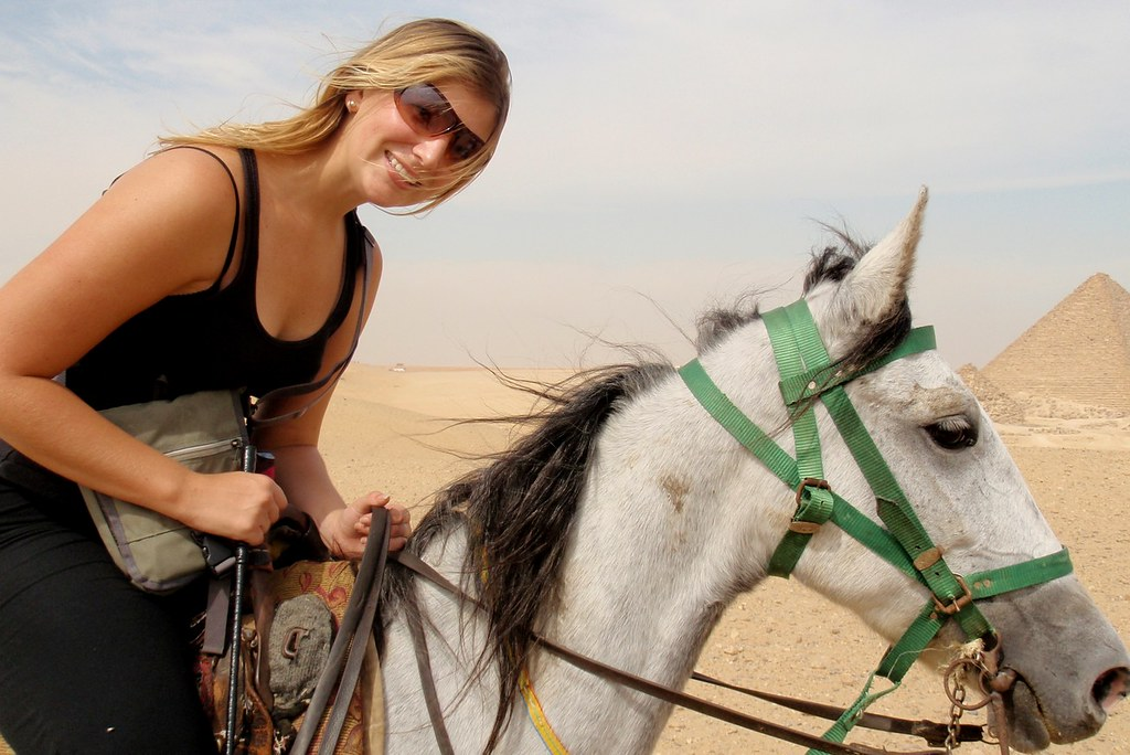 Nicole and her pony at the Pyramids