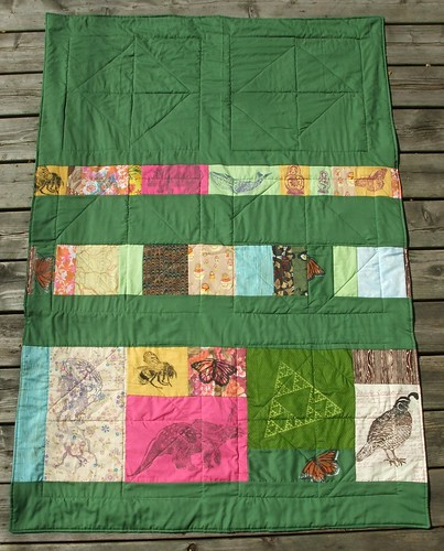 Reverse of scrappy strip quilt