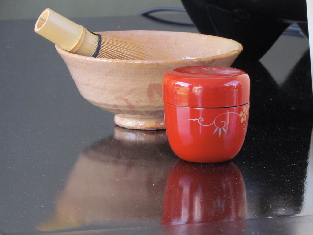 Earthenware Chawan bowl, Chasen whisk and Natsume container
