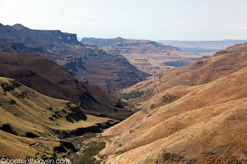 Part of the Sani Pass, looking back towards South Africa