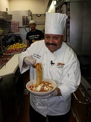 Chef Jesus Castañeda with Spaghetti ala Norma