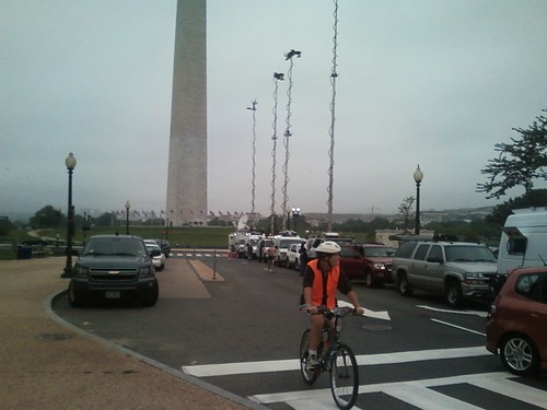 Washington Monument & news crews