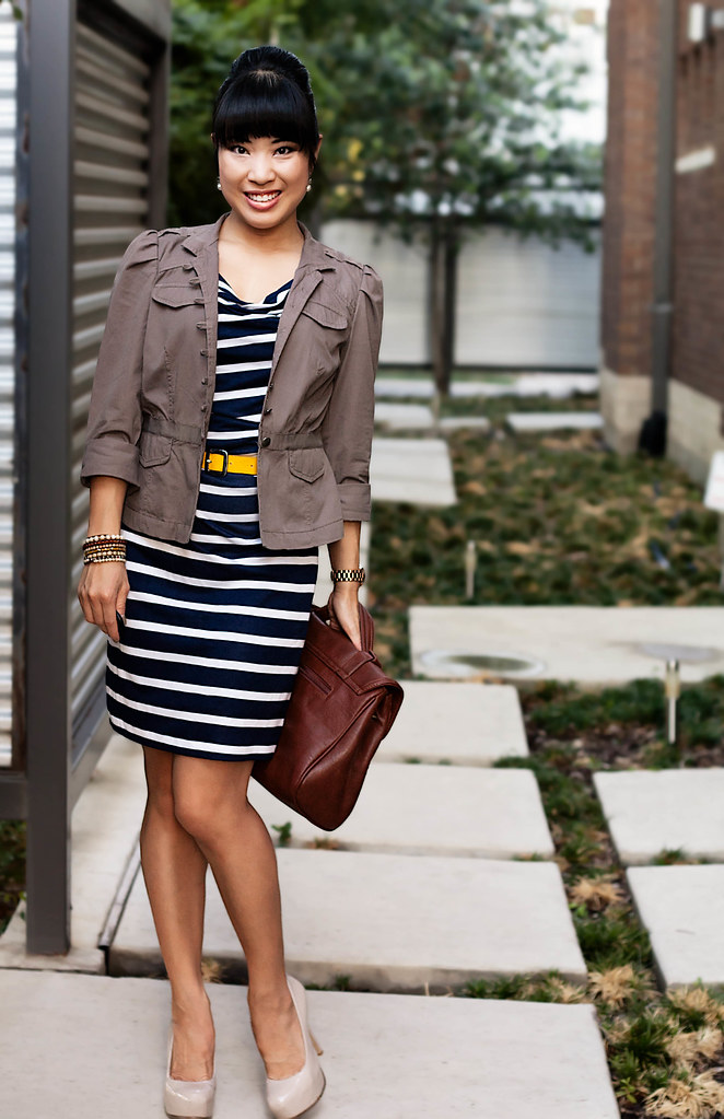 LOFT Military Peplum Jacket, loft wanda stripe knit dress, mk5430, sole society marco santi dash nude pumps, mk5430, tjmaxx vieta lucille handbag