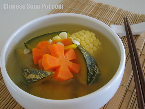 [photo-Kabocha Japanese Pumpkin Carrot Corn Pork Soup]