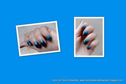 Meia lua usando o Polaina Fun e o Azul Pavão da coleção Disco da Impala.  by Ana Canto