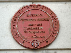 Photo of Liverpool Overhead Railway, Charles Douglas Fox, and James Henry Greathead red plaque