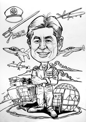 Caricature for Singapore Air Force - pen and brush