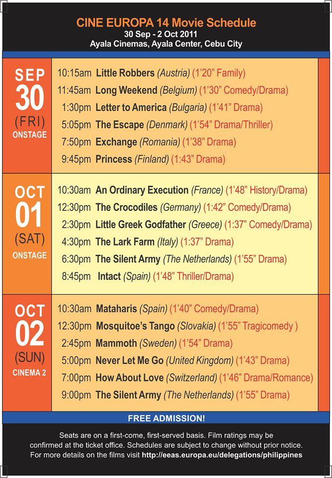 Cine Europa 14 Sceening Schedule Cebu City
