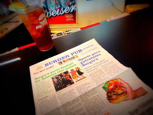 Bergie's Burger Pub Newspaper/Menu