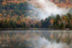 ...and again ([Adam Baker]) Tags: morning autumn cloud lake ny reflection nature fog canon landscape hiking foliage rocklake adirondack adk bluemountain 24105l adambaker 5dmarkii